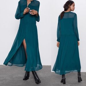 Zara PLEATED SHIRT LOOSE-FITTING LONG DRESS NWT